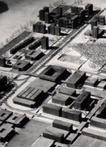Early architect's concept model of campus