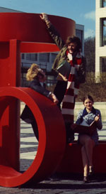 Students photographed with the sculpture in Red Square in the mid 1970s